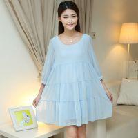 2015秋装新款韩国孕妇装 时尚妈妈长袖孕妇连衣裙秋装雪纺连衣裙