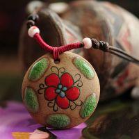 波希米亚风土陶镀釉彩绘红花项链 民族风多元素原创吊坠