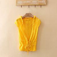 外贸原单 春季新款女装针织 韩版短袖毛衣连帽针织打底衫D145