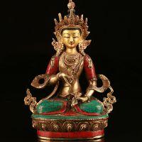 佛教用品批发尼泊尔手工纯铜做旧镶嵌绿松石鎏金金刚萨锤佛像批发