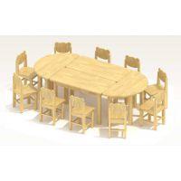 厂家批发新款实木拼接儿童几何桌,幼儿园儿童课室美工桌 无气味儿童课桌椅