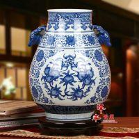 景德镇陶瓷器 青花寿桃图案双耳芙蓉花瓶 家居装饰古典摆件批发