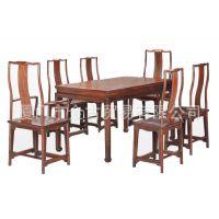 明式方形餐桌七件套 餐厅 饭桌 古典实木红木家具 厦门市金古红木