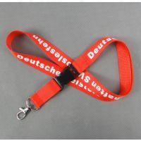供应2cm常规涤纶丝印logo大红工牌挂绳 批发员工安全厂牌挂带