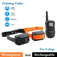 Waterproof and Rechargeable Led Dog Collar For 2 Dogs 300m 100 Levels LCD Control 998DB-2