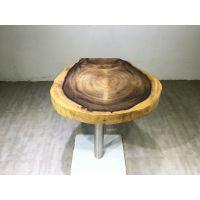 福州家有名木现代中式风格胡桃木天然实木家具小圆盘吧台休闲桌咖啡桌