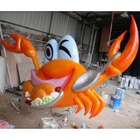 供应卡通动物雕塑 谜人的卡通大闸蟹玻璃钢雕塑