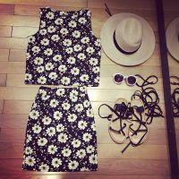 【MISS阮阮】自制2015新款白花朵套装无袖t背心+半身裙包臀裙