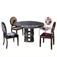 海德利厂家定制 实木铁艺封边餐桌椅 美式乡村餐桌椅 批发