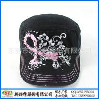 东莞帽厂定制 时尚淑女户外遮阳平顶帽 花卉绣花烫钻工艺鸭舌帽