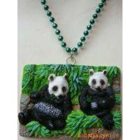 树脂熊猫项链 树脂工艺品项链 仿真动物人物项链 广告促销礼品