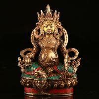 西藏佛像 手工做旧纯铜镶绿松石鎏金财神爷佛像 黄财神 批发订做