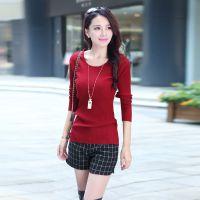2014秋季新款韩版时尚修身打底衫套头纯色毛针织衫女