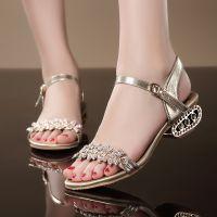 2014新款潮女鞋 休闲水钻低跟异形跟真皮女鞋女凉鞋 厂家直销