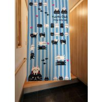 厂家直销优质品质出口日本日式布艺印花风水门帘猫咪爱鱼蓝色加厚