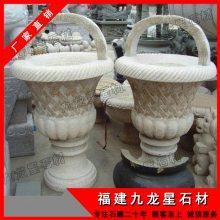 石雕花盆 小区别墅装饰花钵 石材花钵雕刻厂家