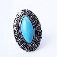 JZ5014  欧美时尚复古饰品 椭圆绿松石戒指 开口圈可调节