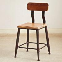 美式乡村铁艺实木靠背矮方凳吧台椅酒吧椅咖啡休闲凳子椅子餐椅