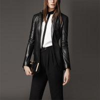 2015秋冬新款欧美合身纳帕皮革夹克女士真皮小西装外套