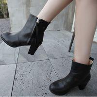 韩国出口东大门原单黑色牛皮粗跟短靴欧美明星同款韩国短靴HM