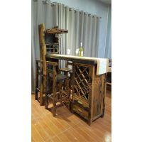 船木家具吧台,餐厅红酒柜吧台,带抽屉。吧椅。
