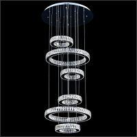 现代简约新款酒店楼梯豪华大气吊灯水晶不锈钢led吊灯k9水晶灯具卡骐灯饰照明