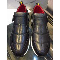 欧美奢侈品大牌男鞋欧洲站春夏新款双侧拉链真皮休闲时尚低帮潮鞋