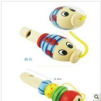 沃迪 卡通动物小口哨宝宝木质音乐玩具挂件 儿童木制玩具三款可选