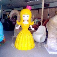 玻璃钢卡通人物雕塑 美陈装饰景观公主人物造型摆件 Q版动漫雕塑