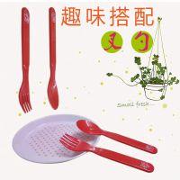 KH W031 食品级PP注塑 卡通塑料 儿童勺子 叉子套装