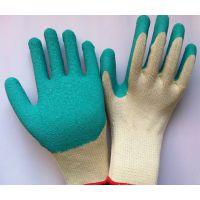 批发21支纱线浸天然乳胶皱纹手套 耐磨防割劳保手套 挂胶手套厂