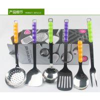 万豪餐具 3厘不锈钢塑料彩色手柄厨具 厨房烹饪勺铲漏 厨具套装