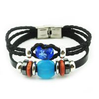 异域风情多层编织手链 琉璃串珠真皮手链 厂家直销 R1060