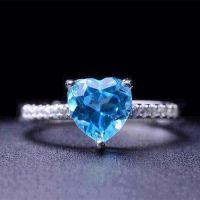 热卖新款 奢华庸贵925银戒指 手上装饰用品 爱心托帕石宝石首饰