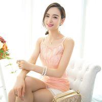 2015夏季新品韩版潮女蕾丝吊带背心时尚大码女装镶钻纯色打底衫