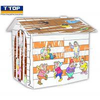 出口 DIY儿童涂色屋 益智纸玩具 幼儿园手工制作 森林聚会涂鸦屋