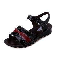 """供应""""阳光如雨""""2015新款平底真皮中老年妈妈鞋凉鞋沙滩鞋休闲鞋"""