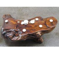 实木雕刻茶盘 根雕茶台 整块木茶海 真木头 图案优雅 有格调