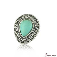 R1222欧美复古宫廷民族绿松石水滴雕刻女戒潮品戒指