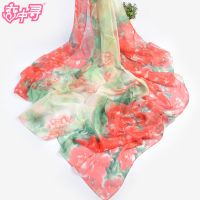 2015新款超大加长雪纺牡丹大花朵围巾印花图丝巾防晒披肩沙滩巾