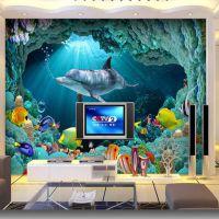 海景房壁纸大型壁画 海底世界3d墙纸定制 KTV酒店无缝墙画厂家