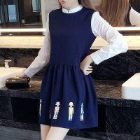 实拍2016秋季新品大码女装 胖mm显瘦时尚卡通印花假两件连衣裙