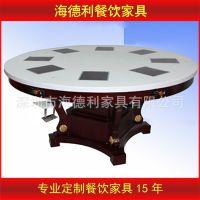 热卖 圆形8人位一人一锅大火锅桌 新款加厚型电磁炉大理石火锅桌