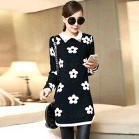 厂家直销秋装新款韩版打底衫提花方领太阳花中长款套头长袖针织衫