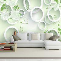 现代简约客厅电视背景墙3D立体圈圈花卉沙发背景墙壁纸墙纸