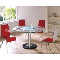 思维特现代玻璃圆桌 大理石底盘家用餐桌 顺德桌椅批发