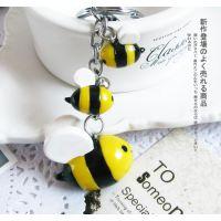 一件起批 挂件创意钥匙扣 韩国 蜜蜂可爱汽车钥匙链 卡通动漫定制