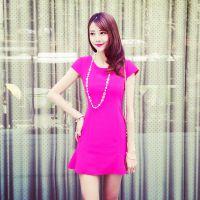 小银子2015夏装新款名媛荷叶边气质显瘦鱼尾连衣裙女Q4443