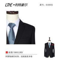 苏州男士商务西装批发 黑色仿毛哔叽面料 2015新款套装 白领精英