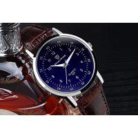 天朗格韩版男士手表蓝光玻璃男表男士时尚皮带手表学生表夜光石英表